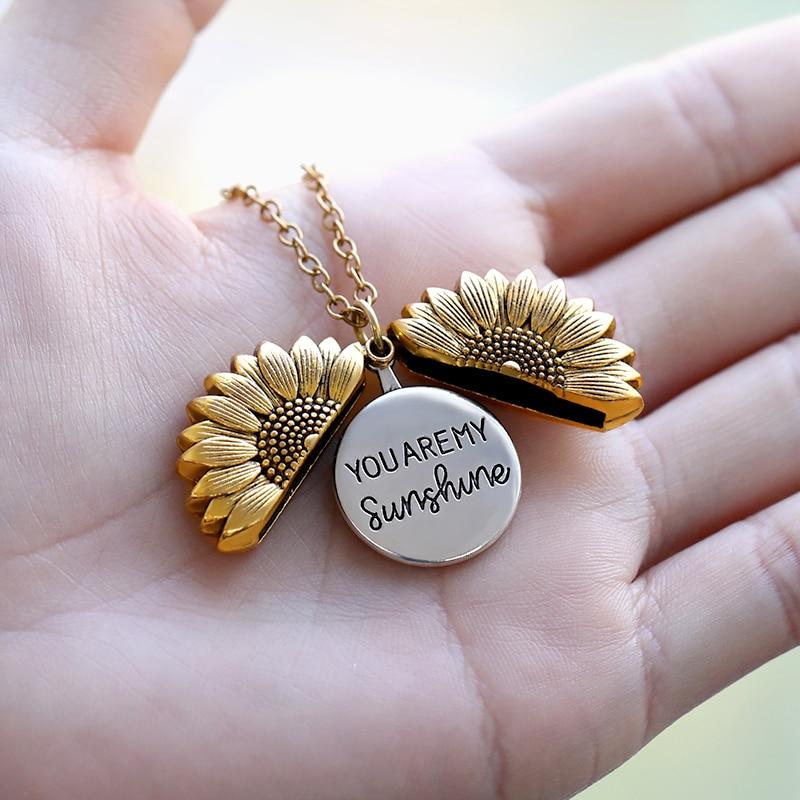 Vous êtes mon soleil tournesol colliers pour femmes Rose or argent couleur longue chaîne soleil fleur femme pendentif collier bijoux