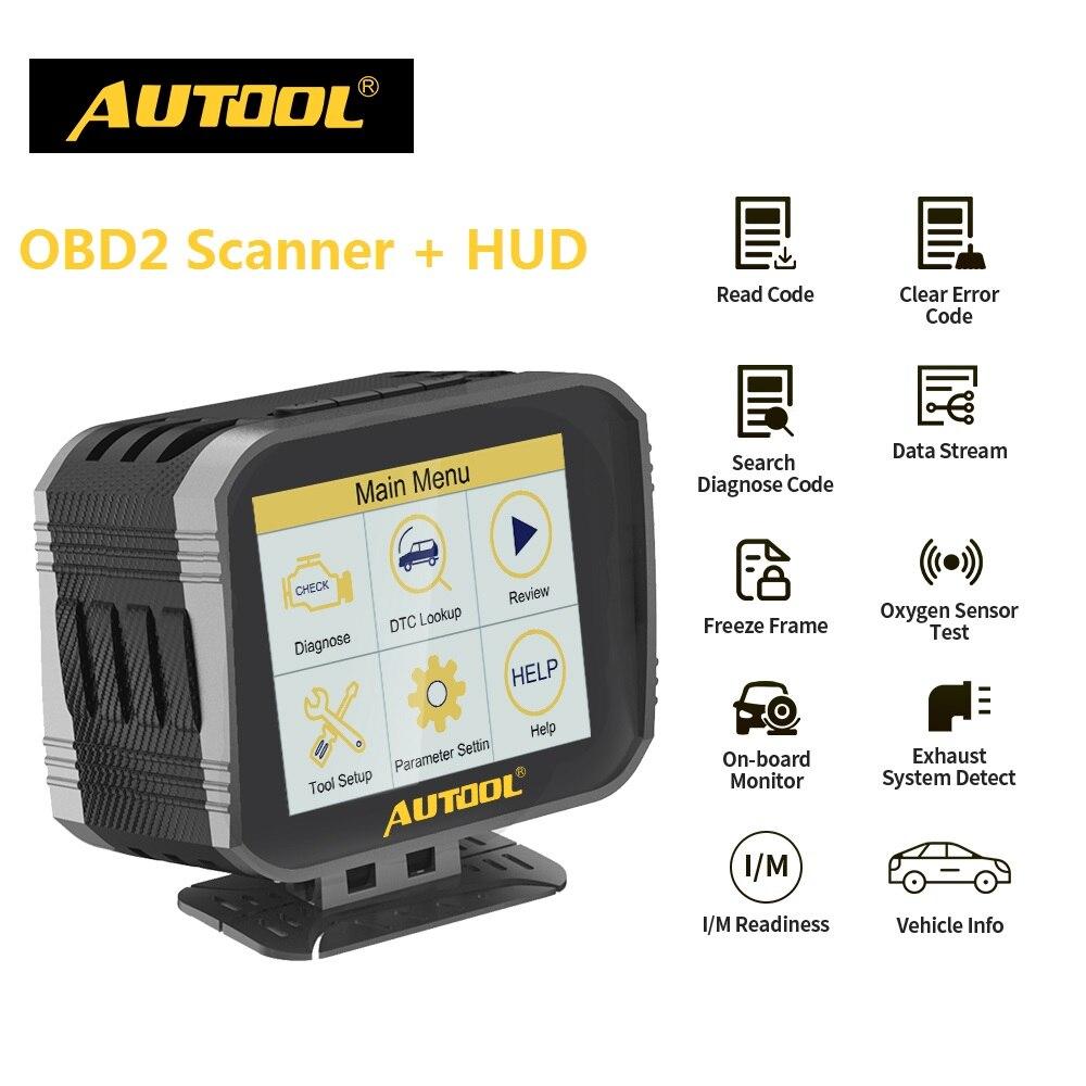 AUTOOL X80 OBD2 escáner HUD Head Up Display & OBD herramienta de diagnóstico Overspeed Warning sistema de alarma velocímetro de coche GPS proyector