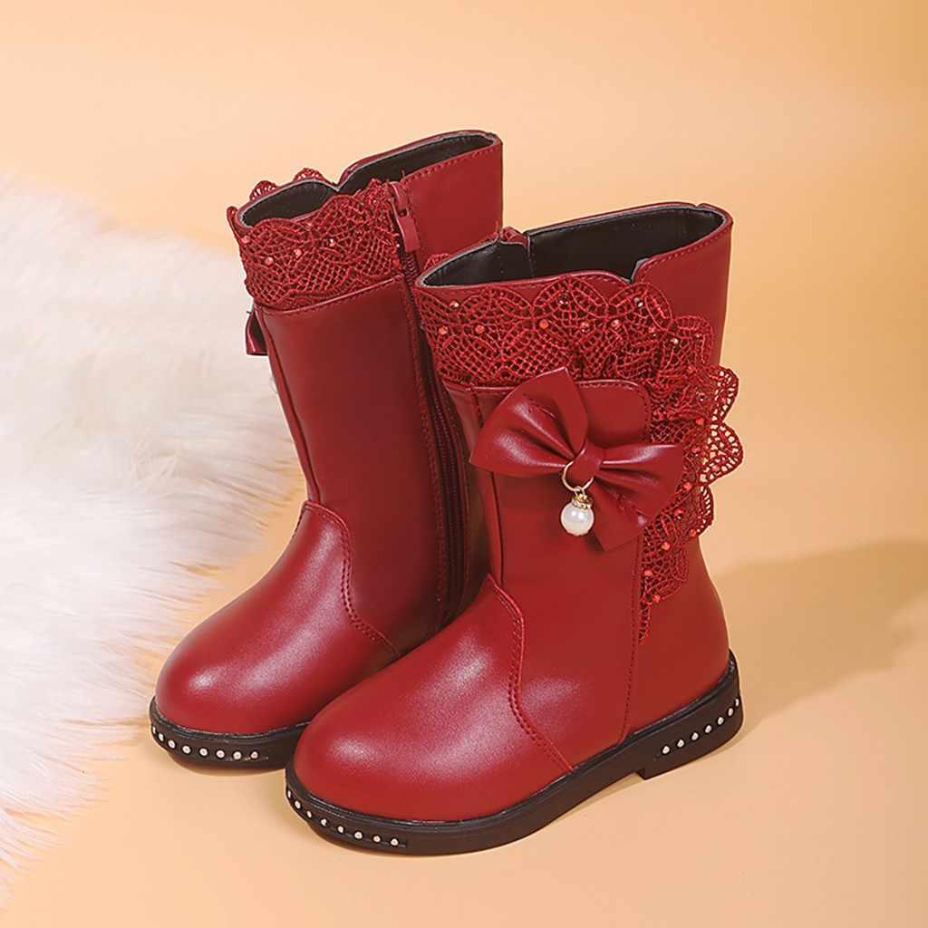 Детская обувь для девочек; Детские Зимние теплые высокие сапоги с бантом и кружевом для маленьких девочек; zapatos Niza detskaя obuwь