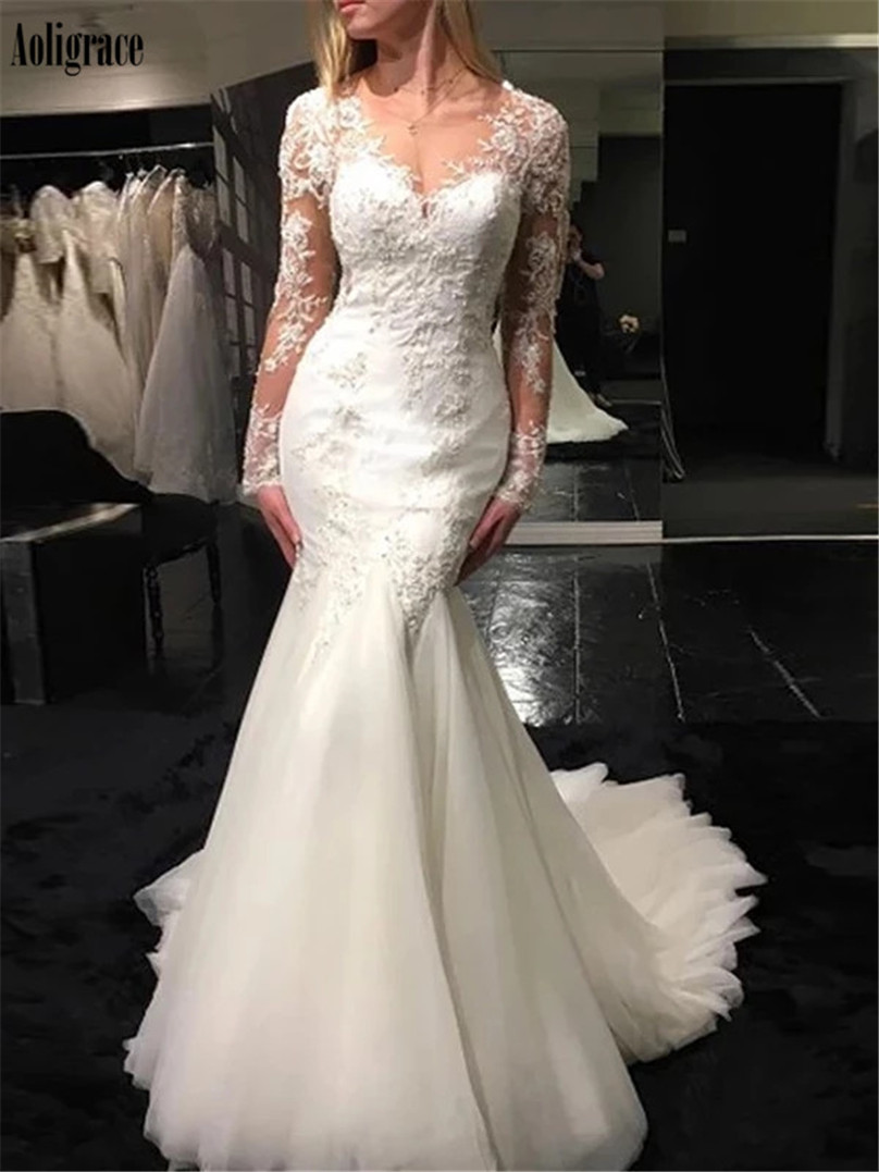 Gorgeous Lace Mermaid Wedding Dresses Sheer Neck Illusion Long Sleeves Sweep Train Garden Bridal Gowns Country Vestidoe De Noiva