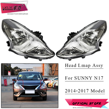 ZUK 2PCS Left Right Front Headlight Halogen Headlamp Head Lamp Light Lamp For NISSAN SUNNY N17 2014 2015 2016 2017