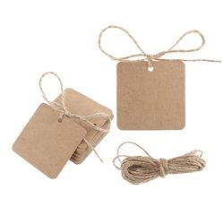 100pcs Blank Square Kraft Paper Gift Hang Tags Wedding Label Price Card Craft with 10m Natural Jute Twine