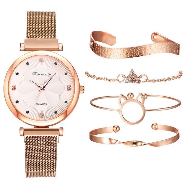 Conjunto de 5 uds. De relojes de lujo con hebilla magnética para Mujer, pulsera de cuarzo con diamantes de imitación y flores 6