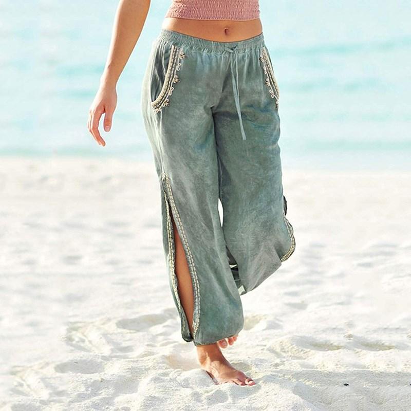 Fall Loose   Pants   Beach Boho Gypsy Baggy   Pant   Pockets Women Trousers Side Slit Hippie Harem   Pants