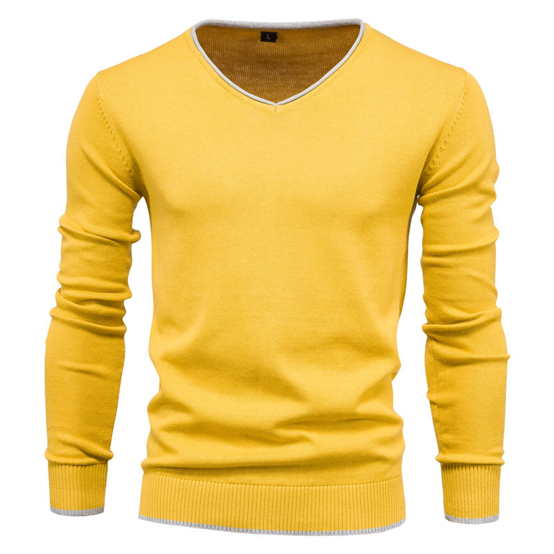 Men's Cotton Autumn Solid Color Long Sleeve Sweater Pullover Youth V-Neck Warm Sweater 5