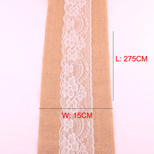 15*275cm Vintage Natural Burlap Table Runner Jute Linen White Lace Chair Sashes Wedding Table Cloth Cover DIY Bow-not Home Decor