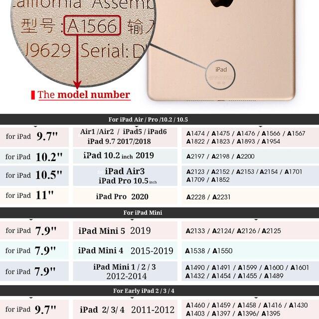 """Funda para iPad Air1/Air2 9,7/10,2/Pro 10,5/Pro 11 """"funda de soporte magnético de cuero para iPad 6ª generación iPad2/3 /4 Mini"""