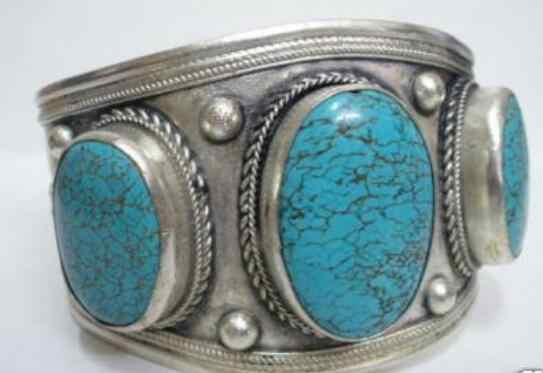 Gioielli di Perle Braccialetto d'argento Del tibet di pietra e Turchesi braccialetto del polsino di Trasporto Libero
