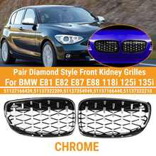 Pair Diamond Style Front Kidney Grilles Grille For BMW E81 E82 E87 E88 118i 125i 135i Car Racing Grills