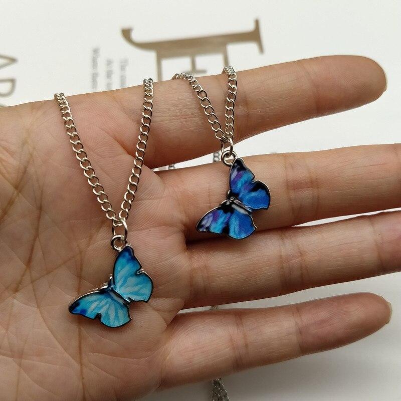 Новинка 2020, модное ожерелье с подвеской-бабочкой синего и фиолетового цвета для женщин, модные бусины, колье до ключиц, модные ювелирные изд...