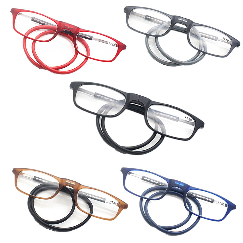 Unisex Foldable Magnetic Reading Glasses Men Women Adjustable Hanging Neck Folding Glasses Front Connect With Magnet Glasses