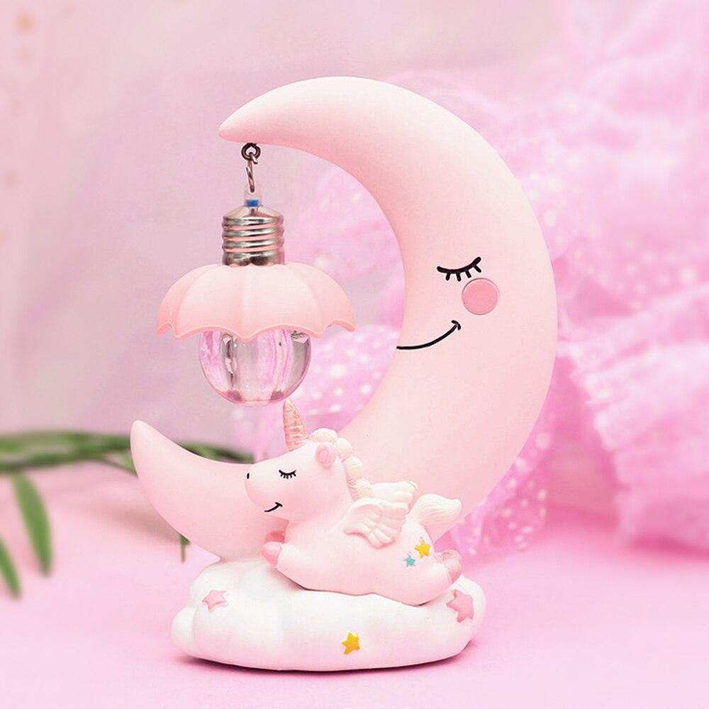 Common Goods Blue Pink Angel Unicorn Night Light Unicorn Moon Night Light Home Bedroom Resin Decoration