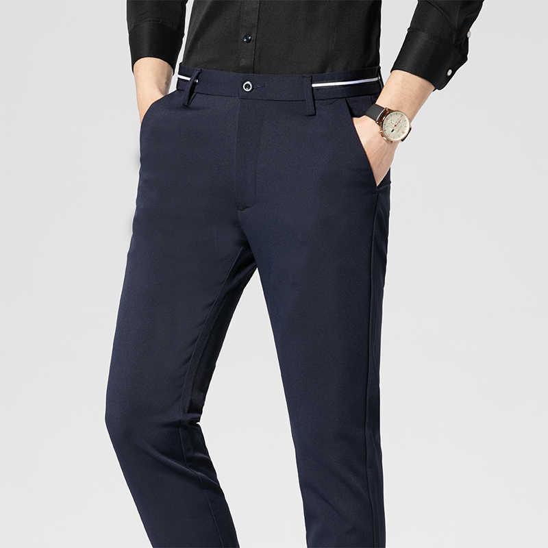 Brytyjski stylowy kombinezon spodnie męskie moda 2020 wiosenna sukienka męskie spodnie Slim Fit Business formalna odzież ślubne spodnie męskie spodnie haremki