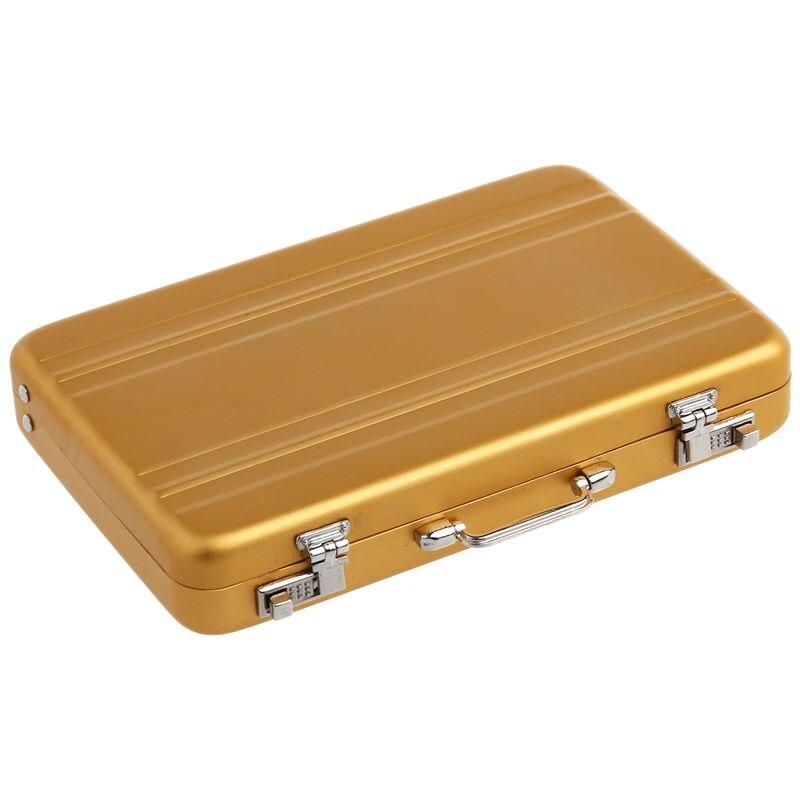 Aluminum Password Box Card Case Mini Suitcase Password Briefcase  Gold