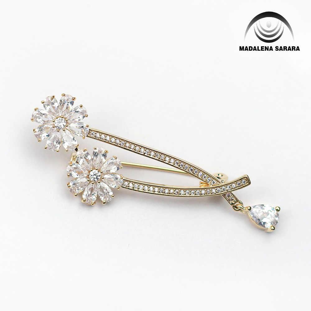 Madalena Sarara AAAA Zirkon Hadiah Natal Bertatahkan Mutiara Bros Tembaga Gaya Baru Fine Bros Pin untuk Wanita Perhiasan Pabrik OEM