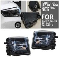 pcmos 2Pcs Front LED DRL Fog Lamp Fog Light For BMW 7 Series F01 F02 F03 2013 2015 LCI Car Light Assembly Fog Lamp Assembly New
