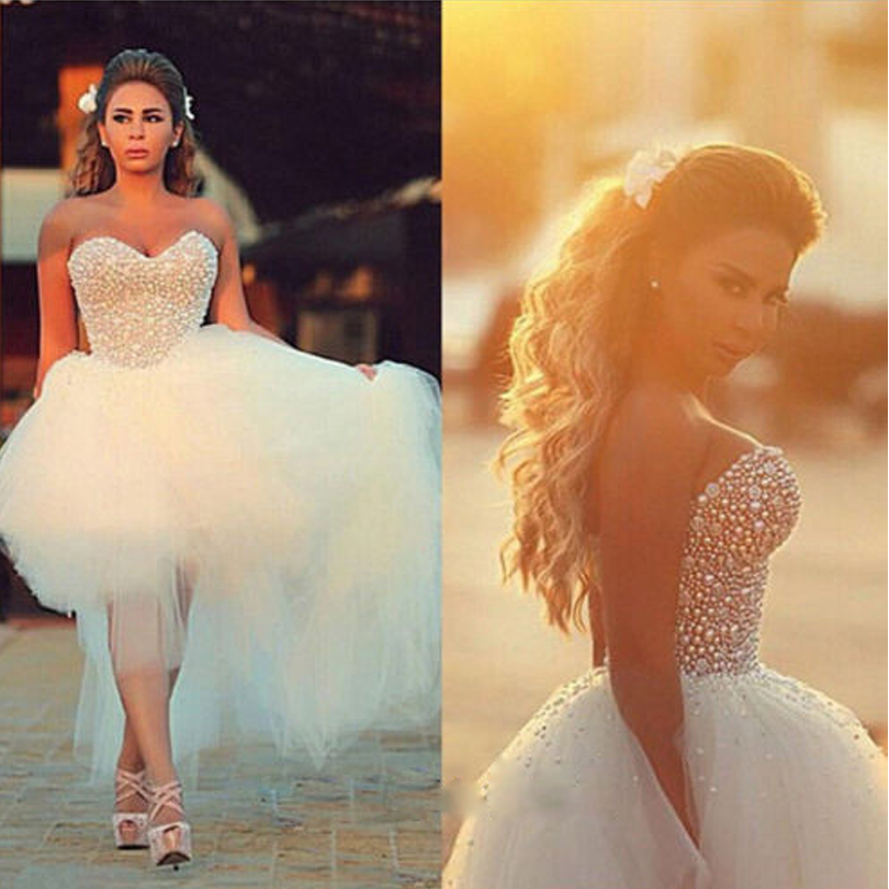 2018 Bridal Ball Prom Gown Sweetheart Sleeveless Lace-up Hi-Lo Vestido De Noiva Crystal Custom Mother Of The Bride Dresses