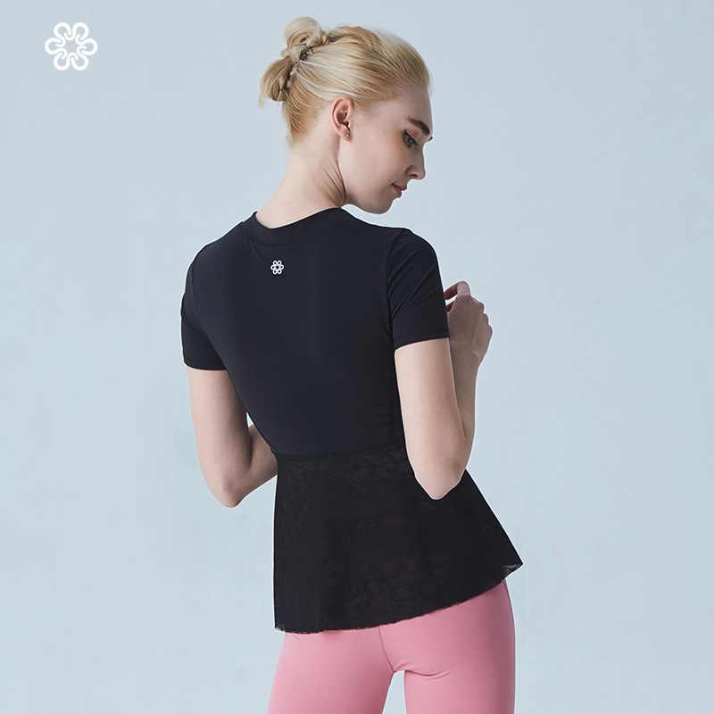 المرأة اليوغا قمصان سترة السيدات الفتيات قصيرة الأكمام المحاصيل الأعلى قمصان رياضية المهنية اللياقة البدنية الصالة الرياضية تجريب الجري سليم الأعلى جديد