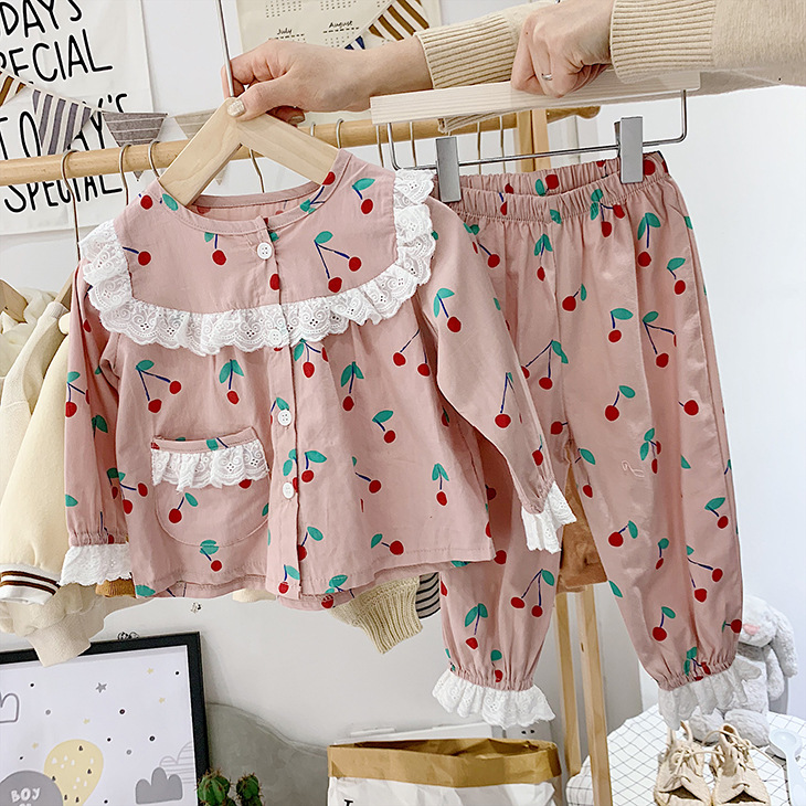 Childrenswear 2019 Autumn Girls Full Printed Cherry Pineapple Lace Tracksuit Pajamas Suit