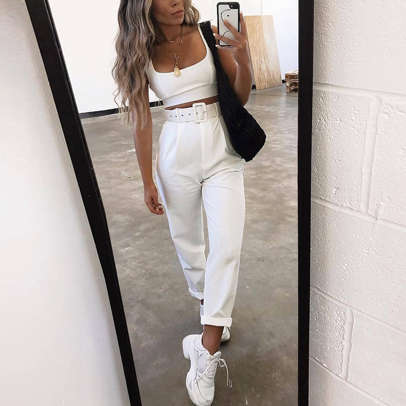Affogatoo Sexy Casual White Buckle Belt Trouser Women Pants Female Loose Work High Waist Suit Pants Straight Sash Fashion Bottom
