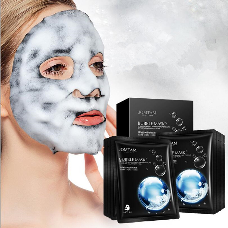1pcs Korean Skin Care Moisture Face Bubble Mask Facial Mask Amino Acid Black Sea Salt Bamboo Charcoal Whitening Deep Purifying
