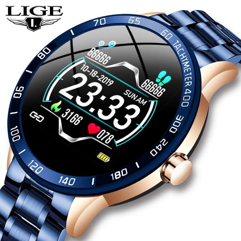 LIGE Stahl Band Smart Uhr Männer Herz Rate Blutdruck Monitor Sport Multifunktions Modus Fitness Tracker Wasserdichte Smartwatch