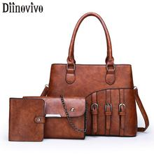 DIINOVIVO 3pcs/Set Women Composite Bags High Quality Ladies Handbags Simple PU Leather Shoulder Messenger Tote Bag WHDV1303