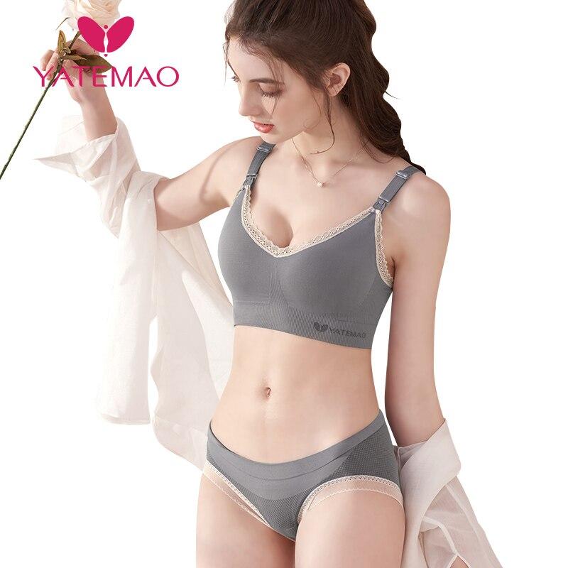 YATEMAO Nursing Bra Set Maternity Breastfeeding Bra Sets Pregnancy Women Underwear Soutien Gorge Allaitement  Wireless