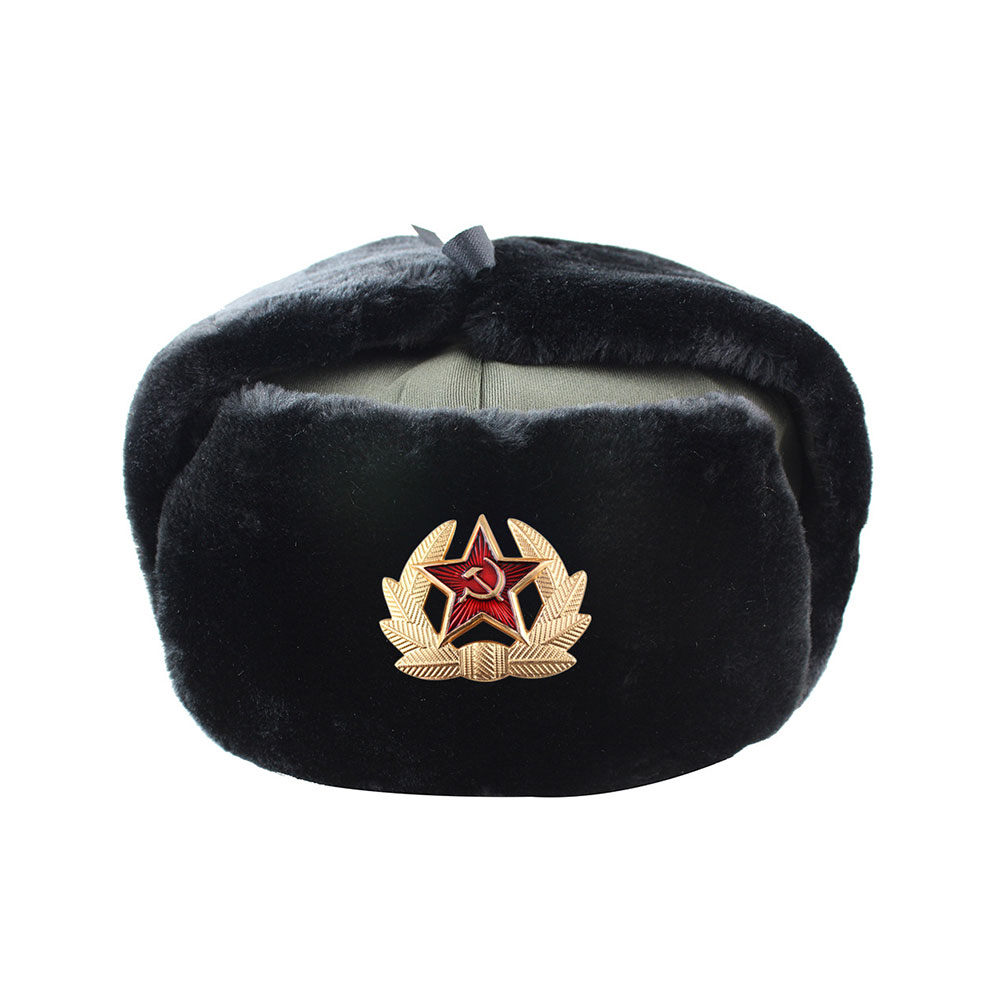 Hat Russian Military-Hats Pilot Snow-Skiing-Cap Police Army Winter Earmuffs Polyester title=
