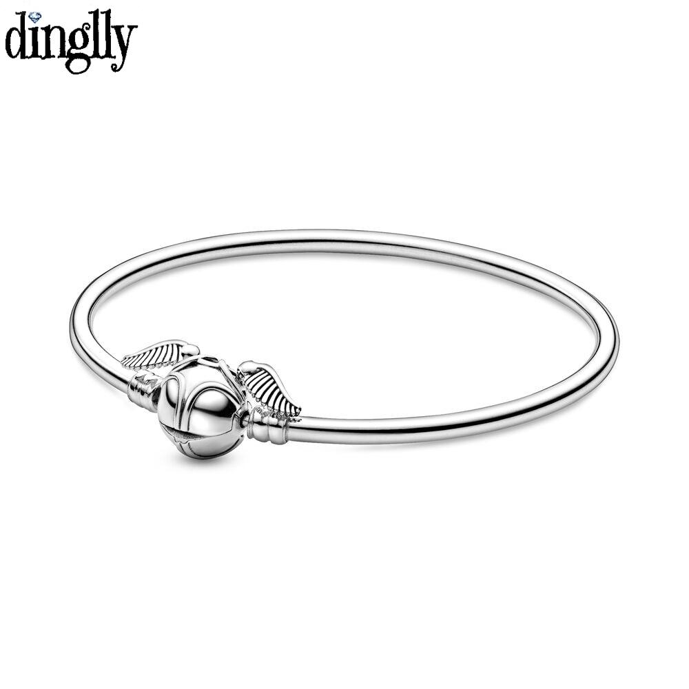 Dinglly Death Snitch Charm Bangle Bracelets Fit Hogwarts School of Witchcraft Wizardry Beaded DIY Women Men Kid Children Jewelry(China)