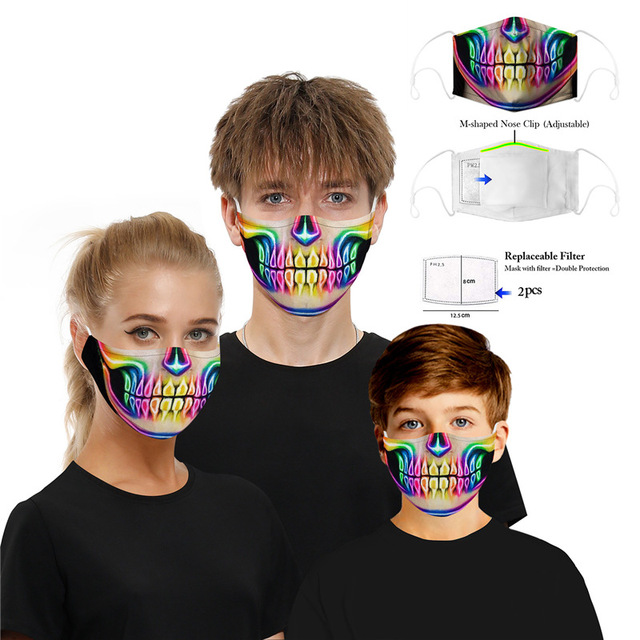 Washable Skull Smiley Printing Mouth Mask with Filter for Halloween Party Half Face Mask Dust proof bacteria proof Flu Mask 3
