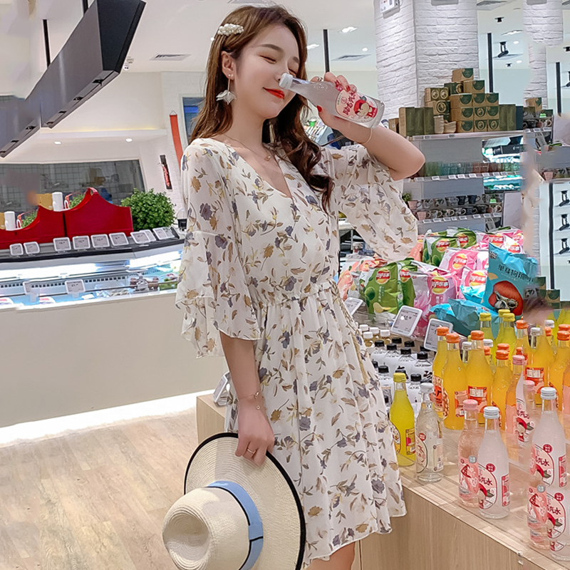 women floral printed chiffon V-neckmidi dress half sleeve pleated elegant slim 2020 summer causual high waist vestidos de vera 2
