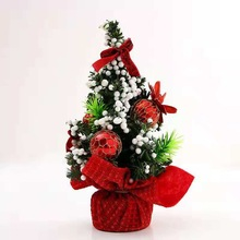 Tabletop Artificial Christmas Tree With Ribbon Bow Ball Ornaments Decorations For Home Office 20cm Tall