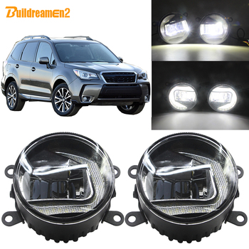 Buildreamen2 For Subaru Forester 2013-2018 Car 90mm Round LED Lamp Fog Light + Daytime Running Light H11 Socket 12V