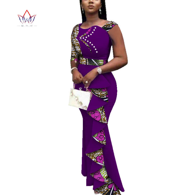 Купить с кэшбэком 2020 Summer African Dresses For Women Dashiki Women African Print Ankle-length Long Part Dress floral bodycon dress women WY3685