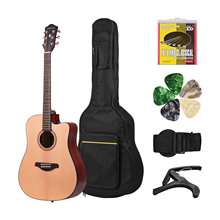 41inch Cutaway Acoustic Folk Guitar Spruce Wood Top Panel Mahogany Wood Backside Panel with Strap Bag Capo Picks Strings