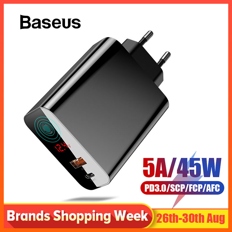 Baseus Usb-Charger Lcd-Display QC3.0 Note-7 Redmi PD iPhone X Xs-Max with for XR