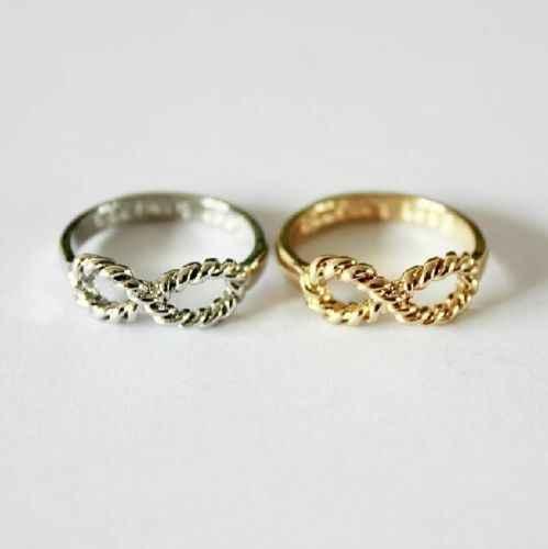 แฟชั่นผู้หญิงหญิงสาว BFF จดหมายเพื่อนที่ดีที่สุด Siver GOLD Punk Infinity 8 Bow Knot มิตรภาพแหวน