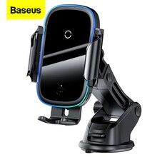 Baseus Qi araba kablosuz şarj iPhone Samsung Xiaomi için 15W indüksiyon hızlı kablosuz şarj araç telefonu tutucu kablosuz şarj cihazı