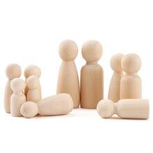 10шт 55 мм,43 мм,35 мм деревянный колышек куклы девушки деревянные куклы детская комната декор DIY ручной деревянный колышек куклы пустое Рождество домашнего декора