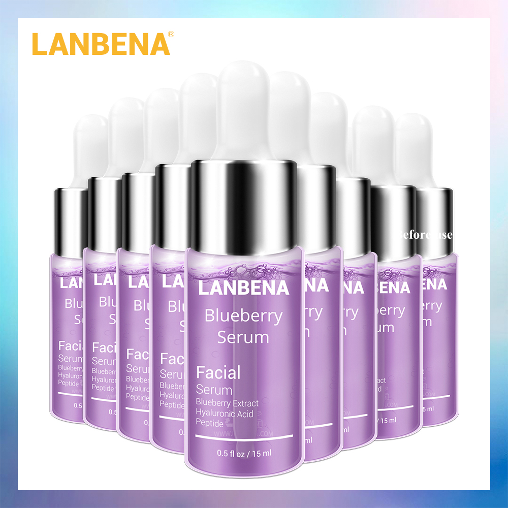 LANBENA Blueberry Serum Making Skin Delicate Reduces Fine Line Remove Wrinkles Improves Loose Skin Keeping Firm Hydrated 10PCS
