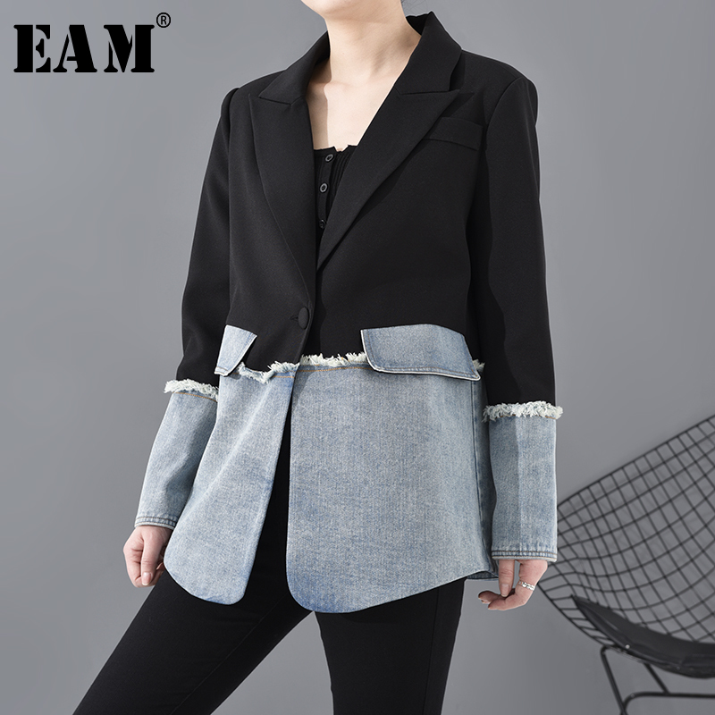 [EAM]  Women Denim Burr Split Joint Blazer New Lapel Long Sleeve Loose Fit  Jacket Fashion Tide Spring Autumn 2020 1R73501