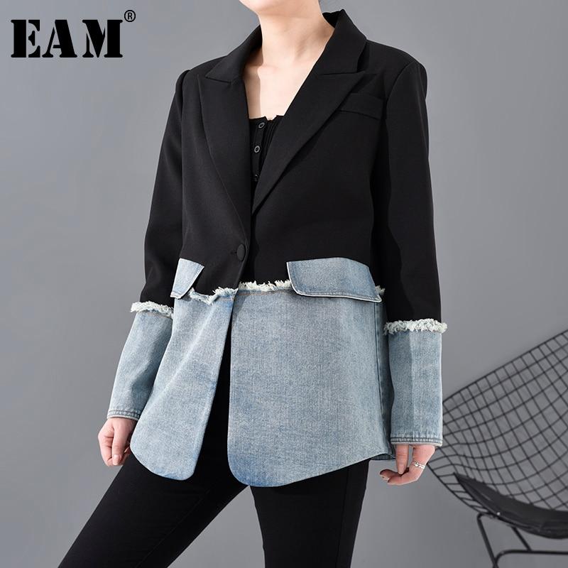 [EAM]  Women Denim Burr Split Joint Blazer New Lapel Long Sleeve Loose Fit  Jacket Fashion Tide Spring Autumn 2020 1R73501