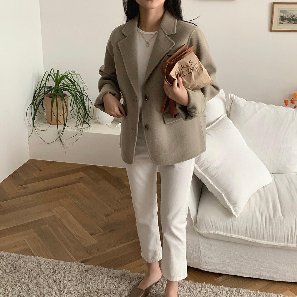 H4bf023ed27854bcb82df2e02275912c2k - Winter Korean Revers Collar Solid Woolen Short Coat