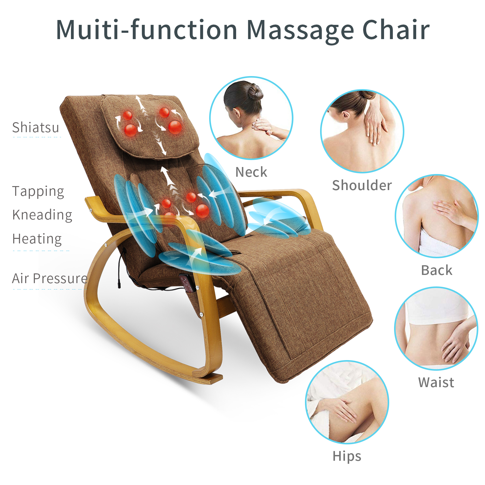 2021 Upgraded Electric Massage Chair Power Lift Recliner Chairs Leisure Soft Sofa Full Body Shiatsu Lounge Armchair for Elderly 9