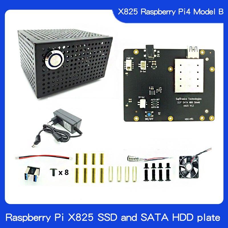 Raspberry Pi X825 SSD Y Placa SATA HDD Caja Metálica A Juego + Interruptor + Ventilador Fresco, Chasis De Panal Para X825