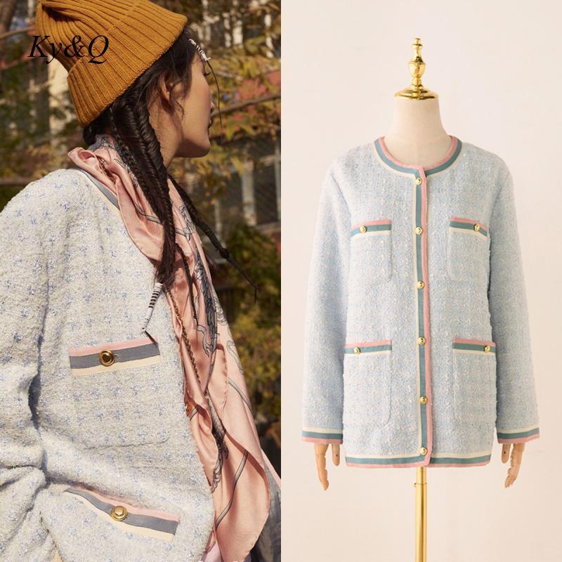 Brand Designer Winter 2020 New Luxury Runway Loose Color Patchwork Long Baby Blue Tweed Cardigan Coat Jacket Women O-neck Tops