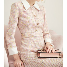 2019 Brand New Women Fashion Dress Buttons Tweed Slim Dress Turndown Collar Eleg