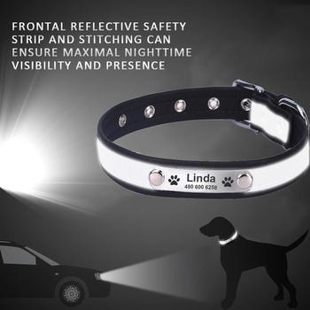 Personalized Dog Collar Leather Reflective Dogs Cat Collar   2
