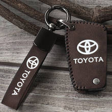 Genuine leather Car Smart Key bag Cover Protective Case Holder For Toyota Camry CHR Prius Corolla RAV4 Prado 2021 Key Wallets